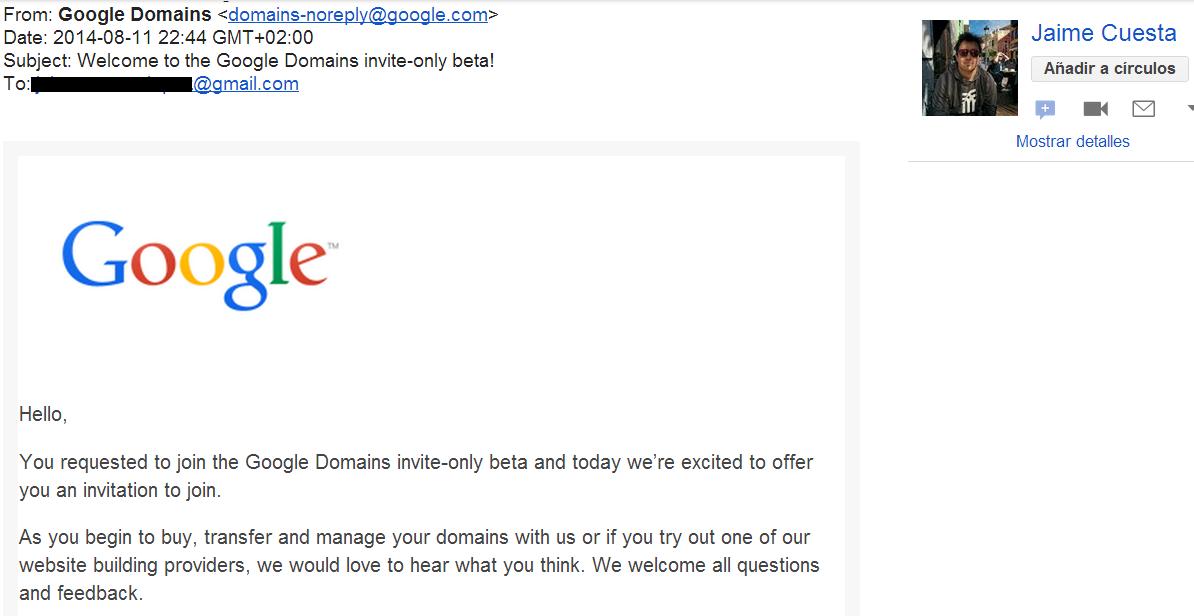 Acceso a la beta de Google Domains - Fuente: Jaime Cuesta